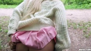 Aisha Blonde Hottie in Upskirts Fuck On the Bench Mofos HD