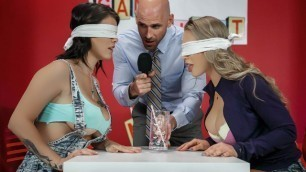 Game Night Shenanigans Nicole Aniston And Peta Jensen Are Sucking Boss Big Dick