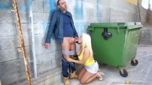 blondie fesser Hot fuck on the street near the dumpsters