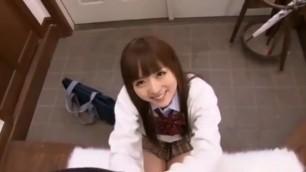 Yu Asakura Blowjob and Cum Face in School Uniform