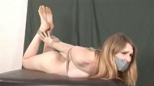Ashley Lane Naked Hogtied and Tape Gagged