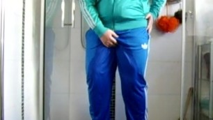 Pissing in Blue Adidas Track Pants