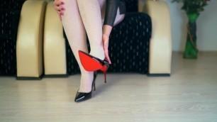 Teen Walking on Louboutin Heels with White Stockings