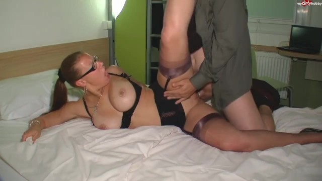 Sexy MILF with Glasses Gets Fucked in FF Stockings