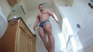 Alpha Muscle Hunk Flexing and Burping