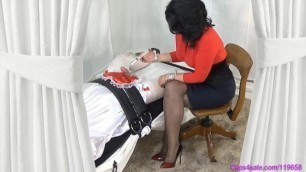 Dominatrix Mommy gives Bound Sissy Handjob Milking