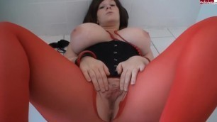Red Pantyhose Dildo Masturbation