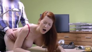 LOAN4K. Red-haired Beauty has Dirty Sex for Cash for Pet Surgery