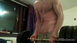 Shirtless Bicep Workout
