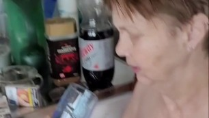 Old whore drinks my piss