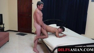 Mature DILF breeds Asian twink after cocksucking in 69 pose
