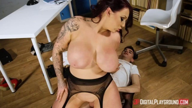 Harmony Reigns flashes her huge tits to her student Jordi El Nino Polla