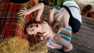 Excited Girls River Fox And Danni Rivers Retreat To A Secluded Spot On The Ranch